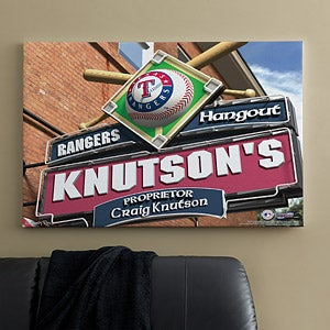 Personalized Texas Rangers MLB Pub Sign Canvas Print - 11496
