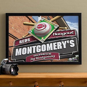 Personalized Cincinnati Reds MLB Pub Sign Canvas Print - 11503