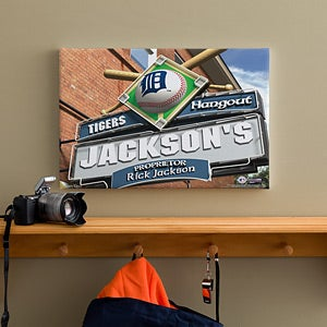 Personalized Detroit Tigers MLB Pub Sign Canvas Print - 11507