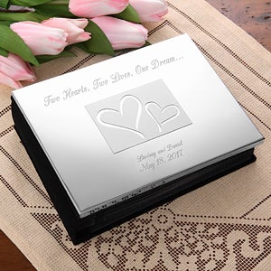 Engraved Silver Wedding Photo Album - Love Ever After Design - 1153