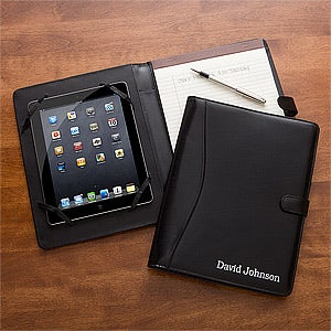 Personalized Leather iPad Portfolio - Black - 11542