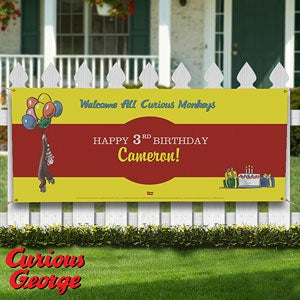 Personalized Birthday Party Banners - Curious George - 11588
