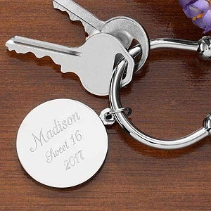 Engraved Silver Plated Keychain - Town & Country - 1159