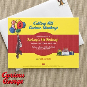 Personalized Curious George Birthday Party Invitations - 11595