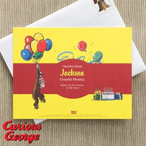 Curious George Personalized Thank You Cards - 11596