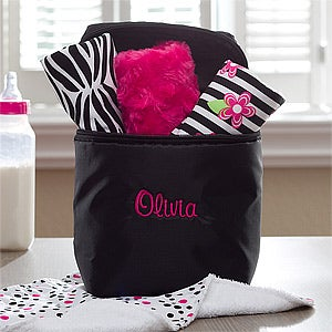Personalized Baby Bottle Bag with Burp Cloth - Black - 11603