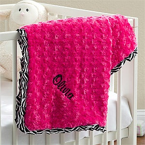 Personalized Baby Blanket for Girls - Pink Zebra - 11604