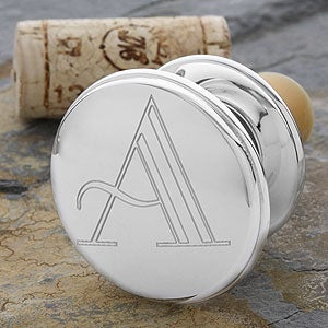 Personalized Monogram Silver Wine Stopper - 1161