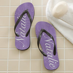 aa29354bf465 Personalized Ladies Flip Flops - Purple