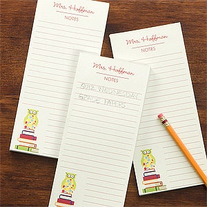 personalized teacher note pad stationery wise owl