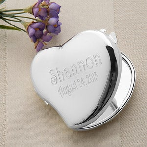 Personalization Mall Personalized Silver Compact Mirror - Engraved Heart Design at Sears.com
