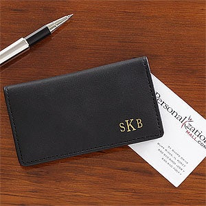 Personalized black leather business card cases monogram for Leather business card holder monogram