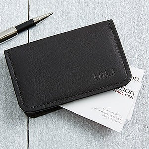 personalized black leather business card cases monogram 11642 - Business Card Cases