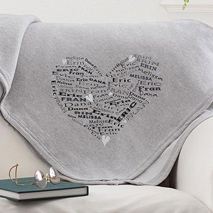 Personalized Sweatshirt Fleece Blanket - Heart Of Love - 11650