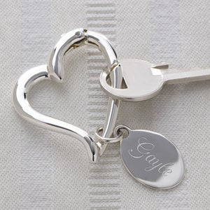 Personalized Heart Shaped Silver Keyring - 1168