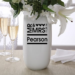 Personalized Flower Vase - Mr and Mrs - 11692