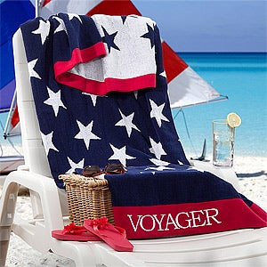 Personalized Beach Towels - Patriotic Stars - 11694