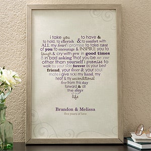 Personalization Mall Personalized Canvas Art - Wedding Vows - For
