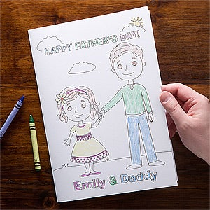 Personalized fathers day cards daddy me coloring card daddy and me oversized coloring greeting card m4hsunfo