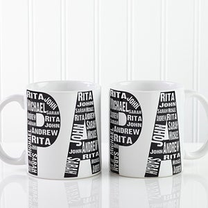 Personalized Coffee Mugs for Dad - Repeating Names - 11743