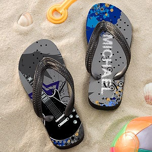 Personalized Flip Flip Sandals for Boys - Rocking Guitar - 11799