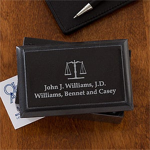 Personalized Marble Business Card Holders for Lawyers - 11837