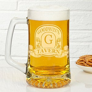 Vintage Bar Sign Custom Deep Etch Beer Mug
