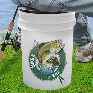 Personalized Fishing Bucket Cooler - Sit 'n Fish - 11919