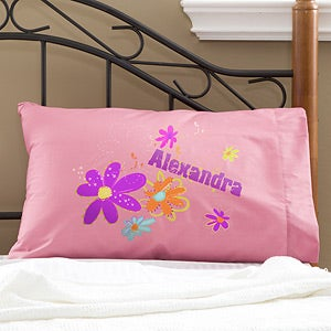 Girls Personalized Pillowcases - Flower Power - 11934