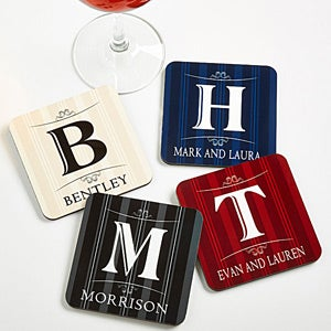 Personalized Coaster Set - Elegant Monogram - 11952