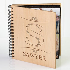 Personalized Photo Albums - Engraved Wood Monogram - 11955