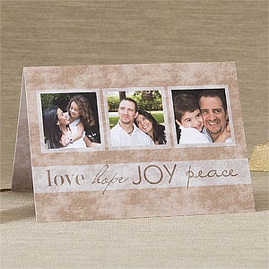 Personalized Photo Christmas Cards - Love, Hope, Joy, Peace - 11966