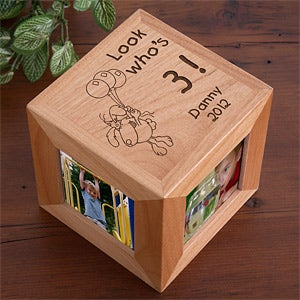 Personalization Mall Engraved Birthday Wooden Photo Cube Frame - It's My Birthday Design at Sears.com