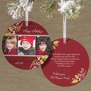 Personalized Photo Ornament Christmas Cards - Cheerful Holly - 11971