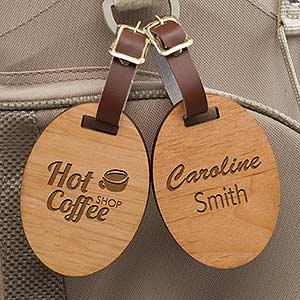 Personalized Business Logo Wood Luggage Bag Tags - 12007