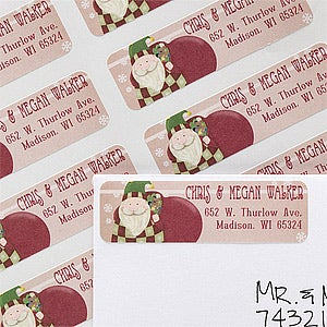 Personalized Christmas Address Labels - Here Comes Santa - 12021