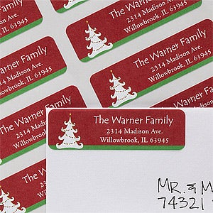 Personalized Holiday Return Address Labels - Christmas Tree - 12038