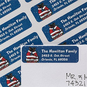 Personalized Christmas Address Labels - Santa Chimney - 12051