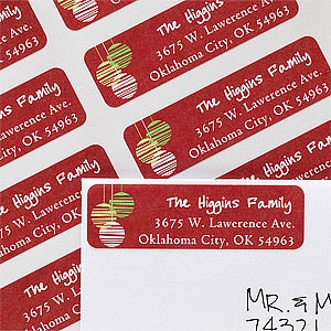 Personalized Return Address Labels - Christmas Ornaments - 12055