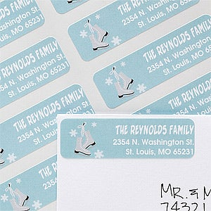 Personalized Holiday Return Address Labels - Ice Skates - 12063
