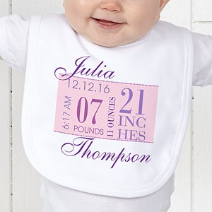 Personalized Baby Girl Clothes - Birth Date - 12073