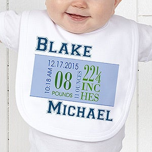 Personalization Mall Boys Personalized Baby Bibs - Birth Date at Sears.com