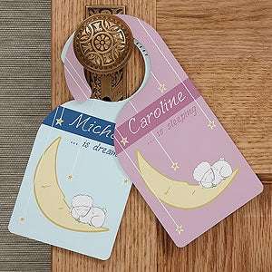 Personalized Baby Nursery Door Knob Hanger - Baby Is Sleeping - 12080