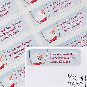 Personalized Snowman Holiday Return Address Labels - 12083