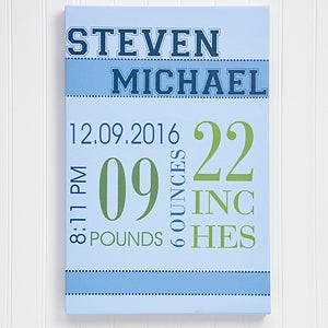 Personalized Baby's Birth Canvas Art for Boys - 12104