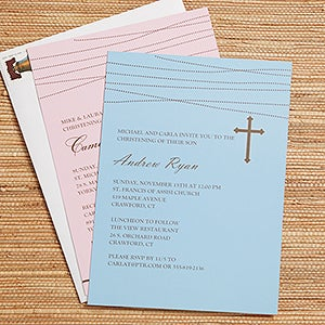 Personalized Christening Invitations - God Bless Baby - 12108