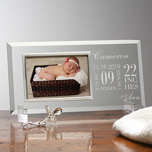 Engraved Glass Baby Picture Frames - Baby's Birth - 12110