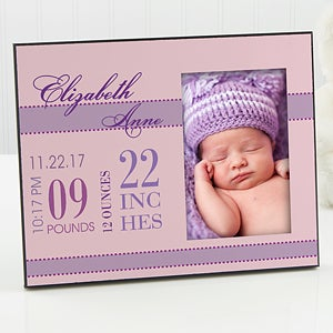 Personalized Baby Picture Frame for Girls - Baby's Birth - 12113