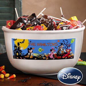 Personalized Disney Halloween Candy Bowl - Mickey Mouse, Donald Duck, Goofy - 12119