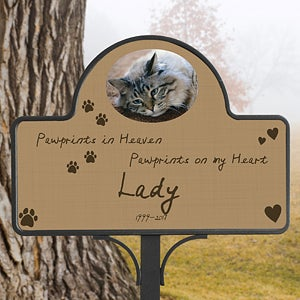 Personalized Pet Memorial Yard Stake - Pawprints In Heaven - 12124